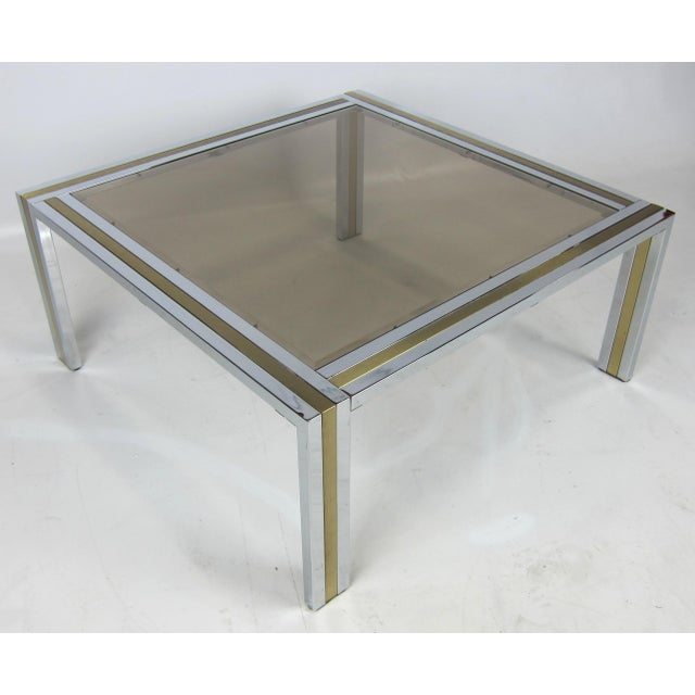 Modern Chrome and Brass Coffee Table attributed to Romeo Rega For Sale - Image 3 of 5