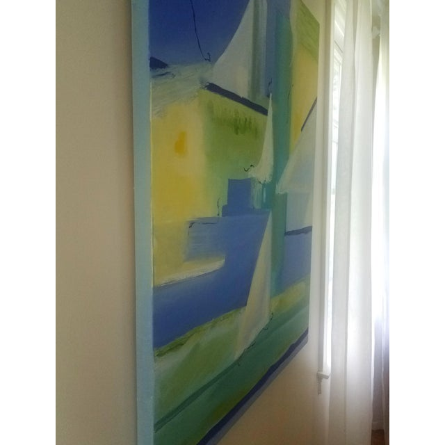 "Abstract ""The Sail"" Blues, Greens and Yellows Original Oil Painting by Christine Frisbee For Sale - Image 3 of 6"