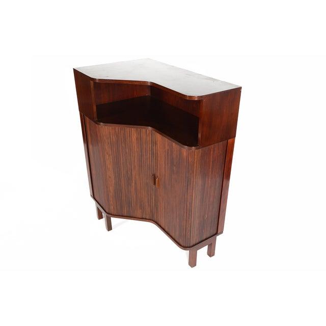 Danish Modern Mahogany Tambour Corner Unit - Image 7 of 9