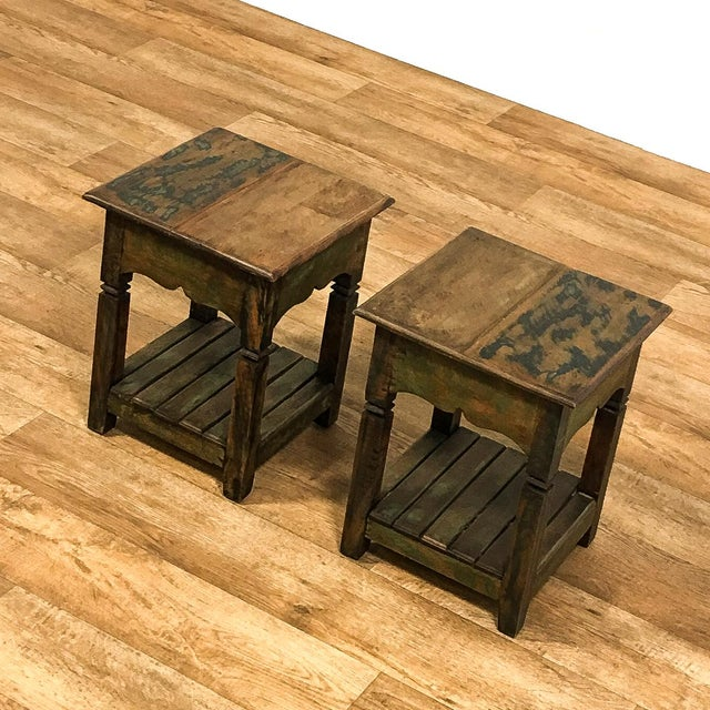 Reclaimed Solid Wood Side Tables - A Pair - Image 3 of 5