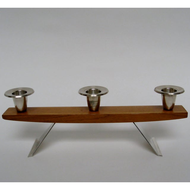 Vintage Wood & Silverplate Candleholder For Sale - Image 4 of 6