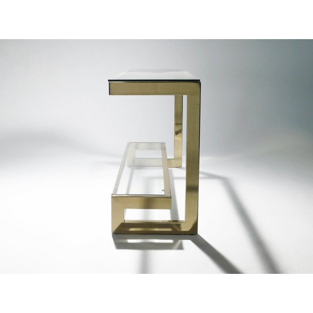 Guy Lefevre Pair of Large Brass Console Tables for Maison Jansen, 1970s For Sale - Image 9 of 11
