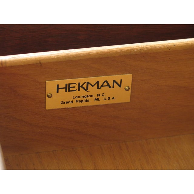 1990s Vintage Hekman Inlaid Mahogany & Yew Wood Secretary Desk For Sale - Image 12 of 13