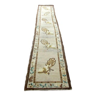 1930s, Handmade Antique Art Deco Chinese Runner 2.4' X 12.1' For Sale