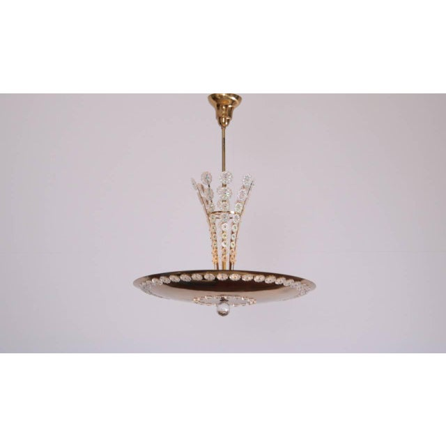 Huge Brass and Glass Emil Stejnar Pendant Lamp or Chandelier For Sale - Image 6 of 6