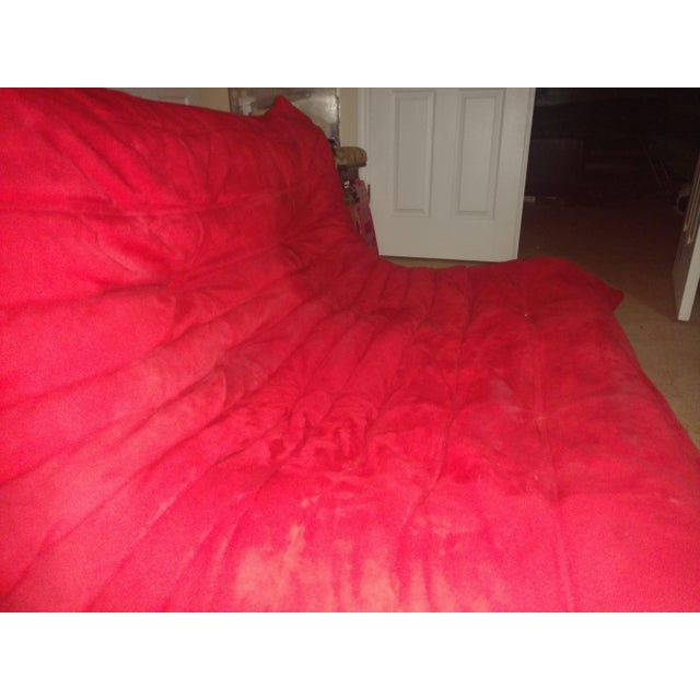 Ligne Roset Togo Red Suede Loveseat Couch - Image 9 of 11