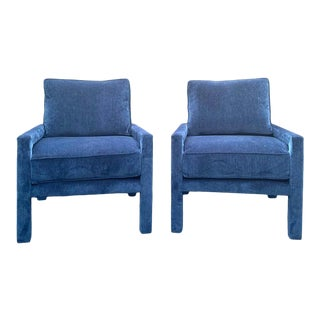 Pair of Milo Baughman Style Iconic Parsons Chairs, Pantone Blue Upholstery For Sale