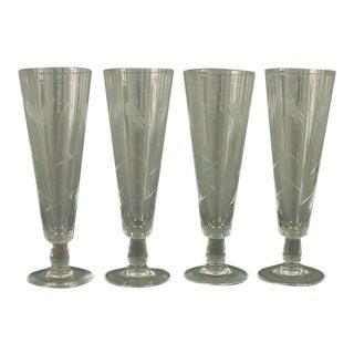 1930s Wheel-Cut Beer/Pilsner Glasses- Set of 4 For Sale