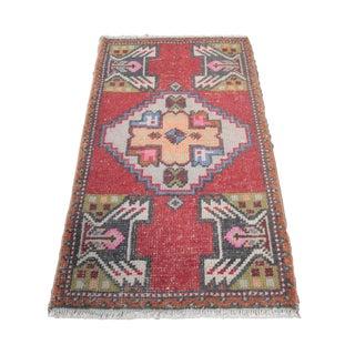 1970s Turkish Anatolian Decorative Handmade Rug - 35'' X 20''
