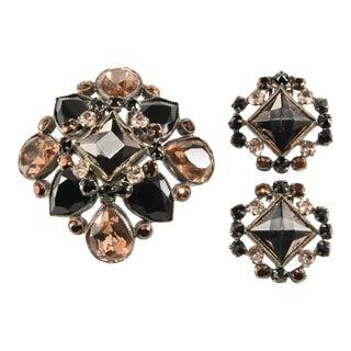 Schreiner Brooch Earrings Set Hematite Brown Black Rhinestones For Sale