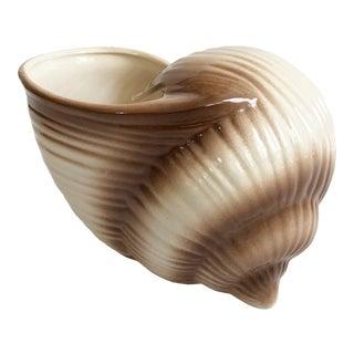 Large Vintage Ceramic Shell Planter For Sale