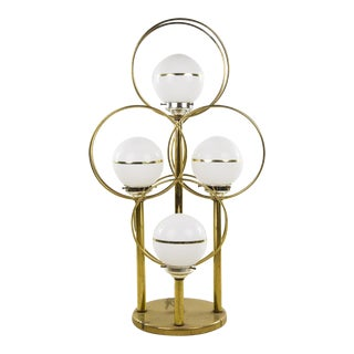 1950s Mid-Century Modern Brass Tier 4-Globe Table Lamp For Sale