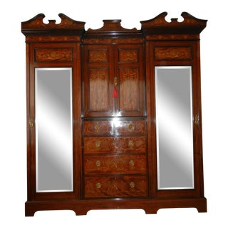 Mid 1800s Antique English Inlaid Linen Press/Wardrobe From the Mid 1800's. Absolutely Stunning. For Sale