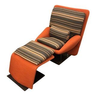Saporiti Italia Vittorio Introini Reclining Lounge Chair & Ottoman For Sale