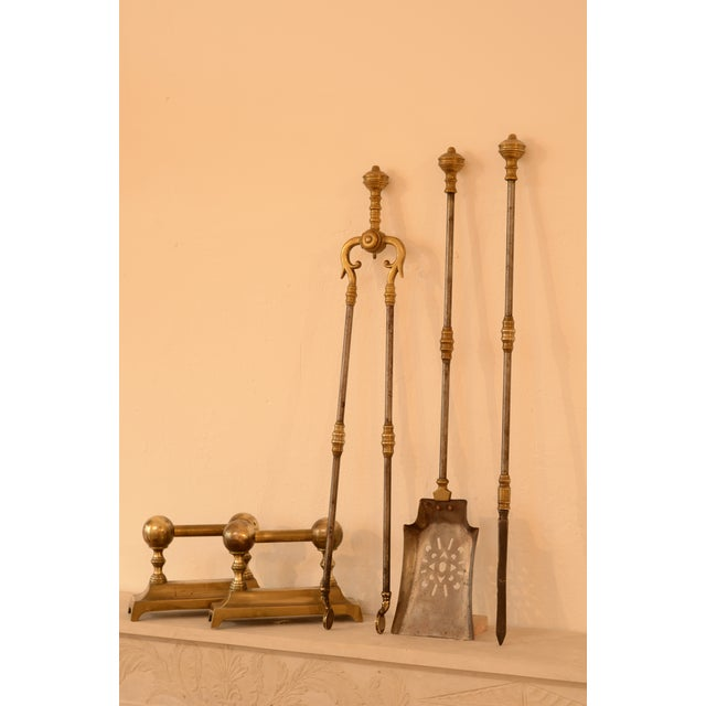 Brass Very Decorative Set of Fire Tools, Shovel Poke and Tongs For Sale - Image 7 of 9