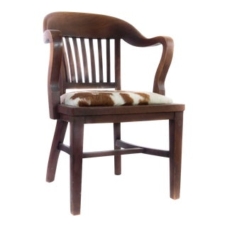 Antique Walnut Chair Upholstered in Cowhide For Sale