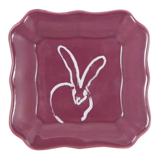 Hunt Slonem Purple Bunny Portrait Plate - Set of 2 For Sale