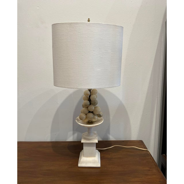 White Marble Grape Accented Oval Shade Base Lamp For Sale In Los Angeles - Image 6 of 6