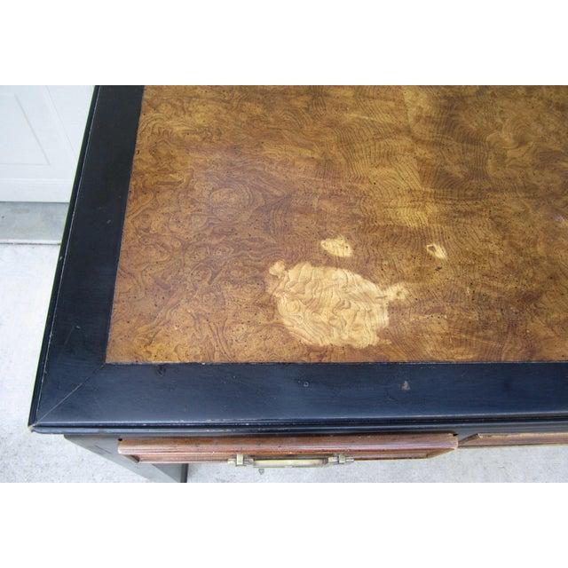 Raymond Sobota Century Furniture Burl Wood Black Lacquer Writing Desk For Sale - Image 10 of 12