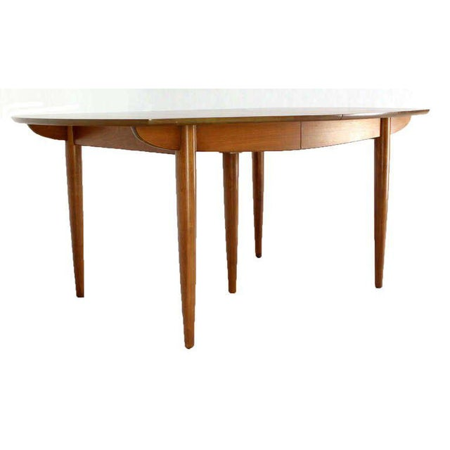Brown John Stuart Mid Century Modern Walnut Dining Table with Two Leaves For Sale - Image 8 of 10