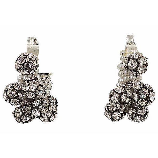 Gemstone 1960s Rhinestone & Faux-Pearl Earrings For Sale - Image 7 of 12