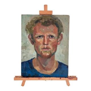 Vintage 2-Sided Oil Portrait W/ Easel For Sale