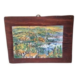 "Italian Hand Painted ""Taormina, Sicily"" Village Tiles on Wood For Sale"