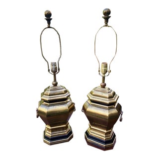 A Pair of Hollywood Regency Chapman Brass Lamps