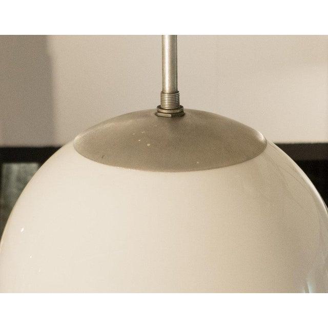 Kurt Versen Spherical Milk Glass Globe Pendant For Sale In New York - Image 6 of 7