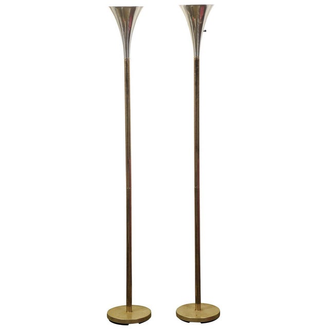 MCM Brass & Chrome Torchiere Floor Lamps - A Pair For Sale