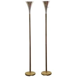 Mid-Century Modern Brass & Chrome Torchiere Floor Lamps - A Pair