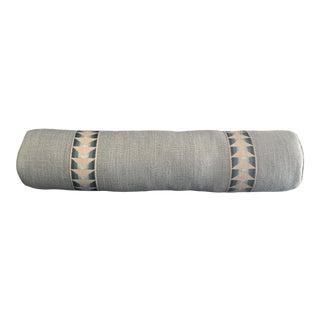 Custom Long Blue Linen Bolster Pillow For Sale