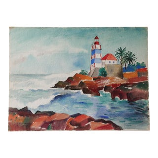 1951 Watercolor of Portugal For Sale