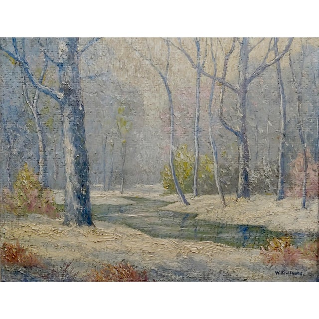 Americana William Krullaars -Winter Solitude by the Creek Landscape - Oil Painting-C1900s For Sale - Image 3 of 10