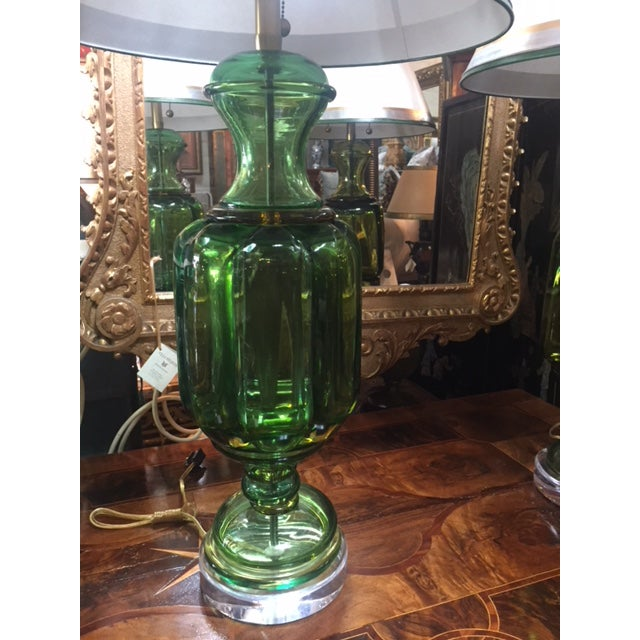 1960s Vintage Emerald Green Murano Lamps Marbro Company - a Pair For Sale - Image 10 of 11