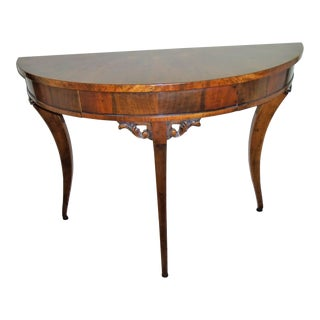 Vintage Inlaid Demilune Table For Sale