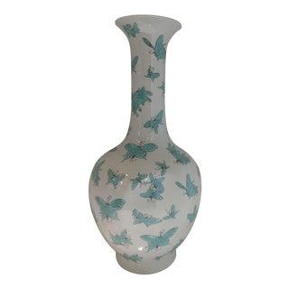 Bungalow 5 Papillion High Neck Turquoise and White Porcelain Vase