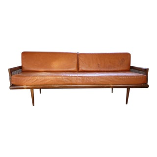 Mid-Century Modern Cane-Sided Leather Sofa