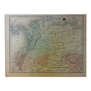 """Antique Mitchell's New School Atlas Map, """"United States of Columbia"""" by e.h. Butler & Co. Publishers - 1865 For Sale"""