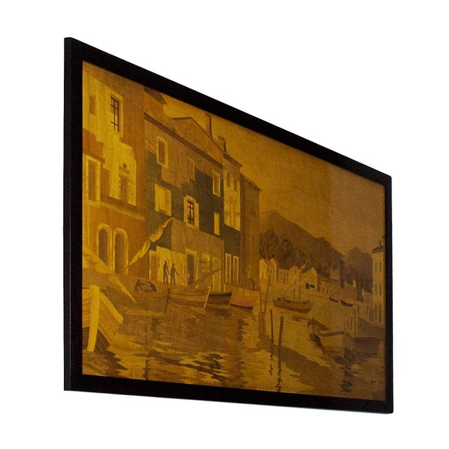Splendid large decorative panel with a fishing port scene. Walnut, burr walnut, maple, ash, mahogany, ebony, Macassar...