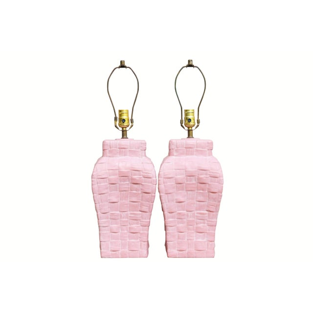 Pink Boho Chic Pink Ceramic Table Lamps, a Pair For Sale - Image 8 of 8