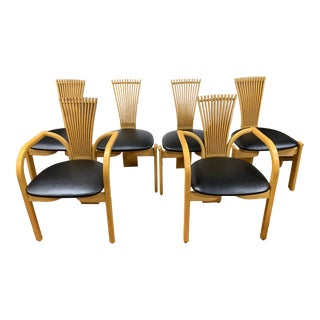 1980s Scandinavian Teak Fan Back Dining Chairs by Torstein Nilsen for Westnofa - Set of 6 For Sale