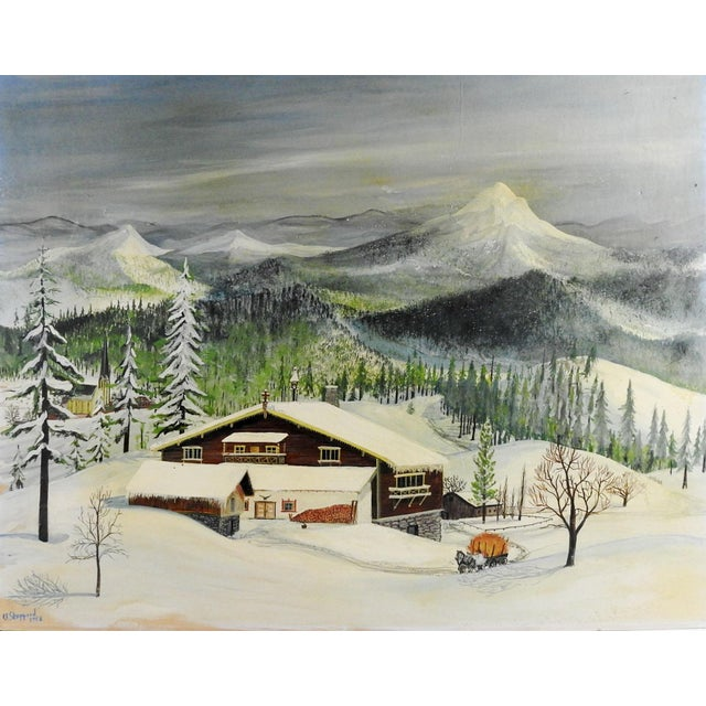 1950s 1950s Folk Art Winter Scene Painting by C. F. Shepperd For Sale - Image 5 of 5