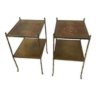 1950s Leather and Brass Baguès Style 2-Tier Side Tables - a Pair For Sale