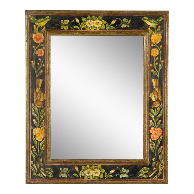 Victorian Style Hand Painted Wall Mirror For Sale