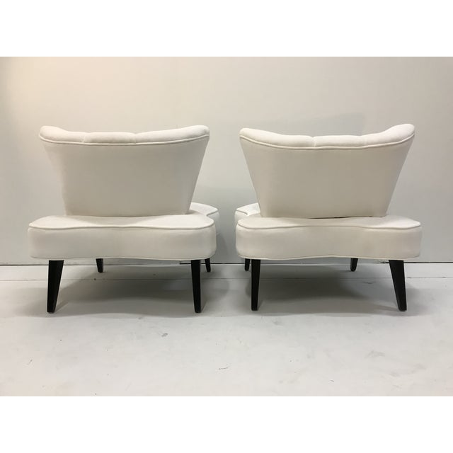 Wood 20th Century Pair Sculptural Art Deco Slipper Arm Less Chairs Attributed to Grosfeld House For Sale - Image 7 of 12