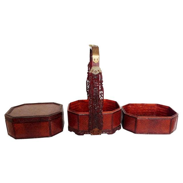Vintage 3-Tier Chinese Wedding Basket - Image 3 of 7
