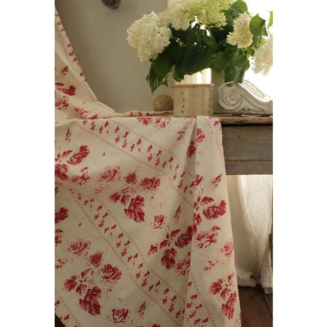 Shabby Chic Faded Floral Drape Curtain For Sale - Image 10 of 11
