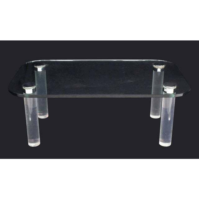 Modern Glasstop Lucite Legs Coffee Table For Sale - Image 3 of 8