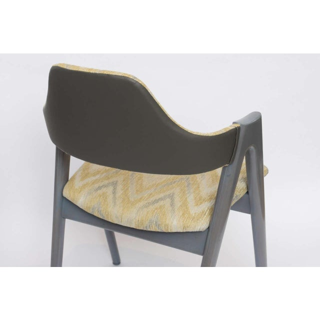 Scissor Design Vintage Sidechairs in Zigzag Fabric For Sale - Image 9 of 10